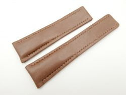 24mm/20mm Chocolate Brown Genuine Calf Vegtan Leather Deployment strap for Breitling #WT2162