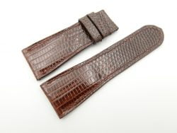 27mm/22mm Brown Genuine Lizard Leather Watch Strap #WT2190