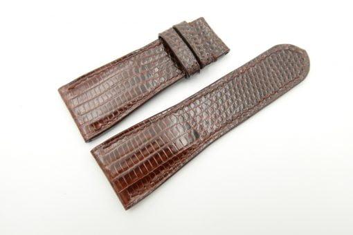 27mm/22mm Brown Genuine Lizard Leather Watch Strap #WT2190