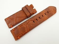 24mm/24mm Red Brown Genuine Nubuck Crocodile Skin Leather Watch Strap for PANERAI #WT2270