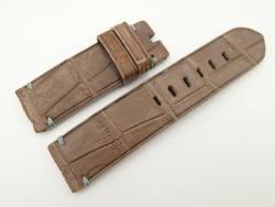24mm/24mm Brown Genuine Nubuck Crocodile Skin Leather Watch Strap for PANERAI #WT2272