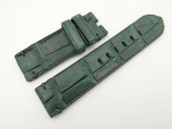 24mm/24mm Tan Brown Genuine Nubuck Crocodile Skin Leather Watch Strap for PANERAI #WT2283