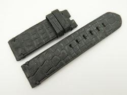 24mm/24mm Black Genuine Nubuck Crocodile Skin Leather Watch Strap for PANERAI #WT2287