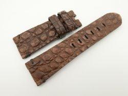 26mm/22mm Brown Genuine Nubuck Crocodile Skin Leather Watch Strap for PANERAI #WT2290