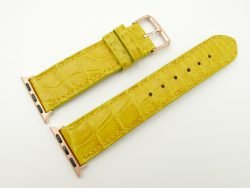 22mm/20mm Yellow Genuine CROCODILE Leather Watch Strap for Apple Watch 38mm #WT2393