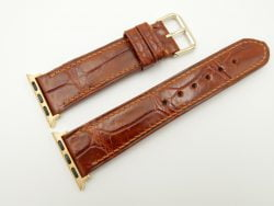 22mm/20mm Red Brown Genuine CROCODILE Leather Watch Strap for Apple Watch 38mm #WT2394