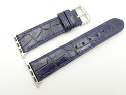 READ - 22mm/20mm Dark Blue Genuine CROCODILE Leather Watch Strap for Apple Watch 38mm #WT2395