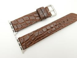 22mm/20mm Brown Genuine CROCODILE Leather Watch Strap for Apple Watch 38mm #WT2396