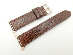 22mm/20mm Brown Genuine LIZARD Leather Watch Strap for Apple Watch 38mm #WT2397