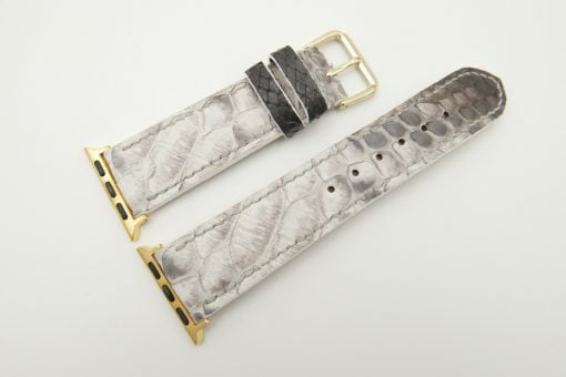 22mm/20mm White Black Genuine Python Leather Watch Strap for Apple Watch 38mm #WT2400