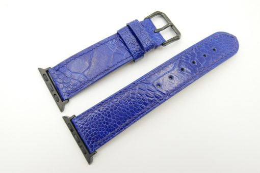 22mm/20mm Cobalt Blue Genuine Ostrich Leather Watch Strap for Apple Watch 38mm #WT2402
