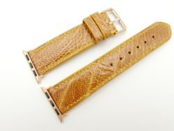 22mm/20mm Tan Brown Genuine Ostrich Leather Watch Strap for Apple Watch 38mm #WT2403