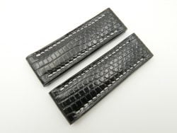 22mm/20mm Black Genuine LIZARD Leather Watch Strap for BREITLING Watch #WT2414