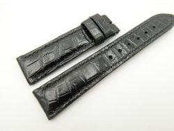 21mm/18mm Black Genuine CROCODILE Skin Leather Watch Strap #WT2468
