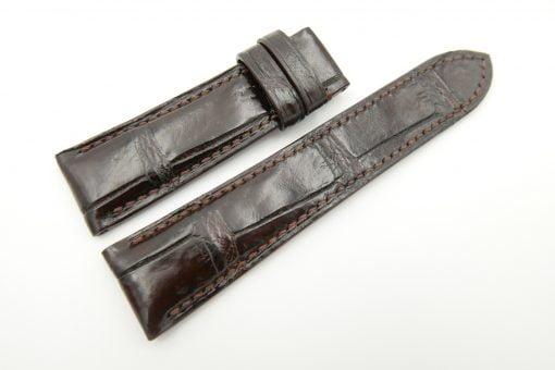 23mm/20mm Dark Brown Genuine CROCODILE Skin Leather Watch Strap #WT2488