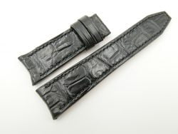 22mm/18mm Black Genuine CROCODILE Skin Leather Curved End Watch Strap 110/65mm #WT2581