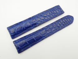 21mm/18mm Blue Genuine CROCODILE Skin Leather Deployment Strap for OMEGA Watch #WT2527