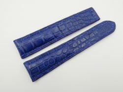 21mm/18mm Blue Genuine CROCODILE Skin Leather Deployment Strap for OMEGA Watch #WT2528