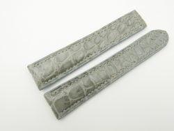 21mm/18mm Light Grey Genuine CROCODILE Skin Leather Deployment Strap for OMEGA Watch #WT2531