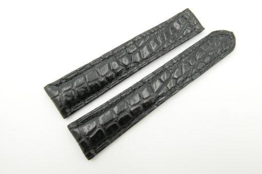 21mm/18mm Black Genuine CROCODILE Skin Leather Deployment Strap for OMEGA Watch #WT2550
