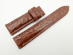 19mm/18mm Red Brown Genuine CROCODILE Skin Leather Watch Strap 110/65mm #WT2655