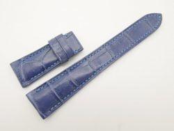 22mm/18mm Light Blue Genuine Crocodile Skin Leather Watch Strap for IWC deployment #WT2667
