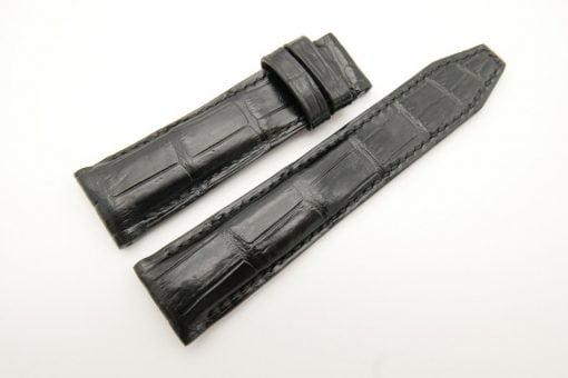 22mm/20mm Black Genuine Crocodile Skin Leather Watch Strap for IWC #WT2674