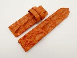 24mm/24mm Orange Genuine Crocodile HORNBACK Skin Leather Watch Strap for PANERAI #WT2686