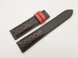 20mm/18mm Black Genuine Vegtan Calf Leather Watch Strap #WT2830