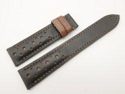 20mm/18mm Black Genuine Vegtan Calf Leather Watch Strap #WT2832