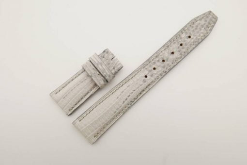 21mm/18mm White Genuine Lizard Skin Leather Watch Strap Deployment Band for IWC #WT2729