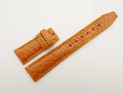 21mm/18mm Honey Brown Genuine Crocodile Skin Leather Deployment Strap for IWC #WT2731