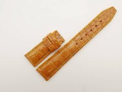 21mm/18mm Honey Brown Genuine Crocodile Skin Leather Deployment Strap for IWC #WT2734