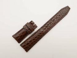 21mm/18mm Dark Brown Genuine Crocodile Skin Leather Deployment Strap for IWC #WT2735