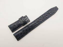 21mm/18mm Dark Navy Blue Genuine Crocodile Skin Leather Deployment Strap for IWC #WT2739