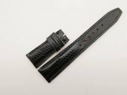 22mm/18mm Black Genuine Lizard Skin Leather Deployment Strap For IWC #WT2749