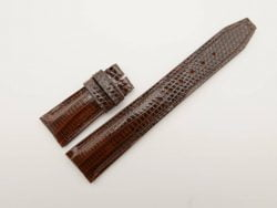 22mm/18mm Dark Brown Genuine Lizard Skin Leather Deployment Strap For IWC #WT2750