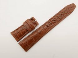 22mm/18mm Brown Genuine Crocodile Skin Leather Watch Strap for IWC #WT2754