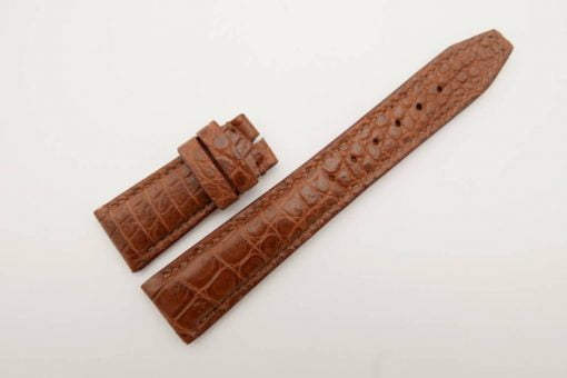 22mm/18mm Brown Genuine Crocodile Skin Leather Watch Strap for IWC #WT2755