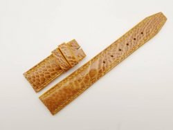 20mm/18mm Tan Brown Genuine Ostrich Leather Deployment Strap for IWC Watch #WT2765