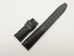 20mm/18mm Black Genuine Lizard Leather Deployment Strap for IWC Watch #WT2770