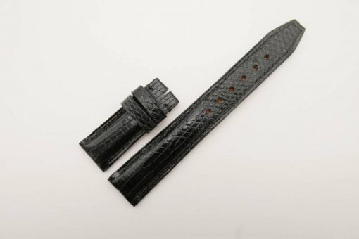 20mm/18mm Black Genuine Lizard Leather Deployment Strap for IWC Watch #WT2771