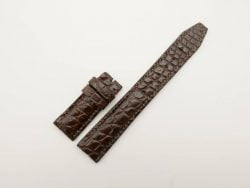 20mm/18mm Dark Brown Genuine Crocodile Leather Deployment Strap for IWC Watch #WT2777