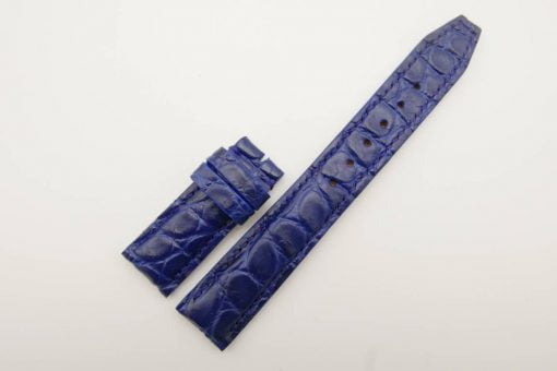 20mm/18mm Blue Genuine Crocodile Leather Deployment Strap for IWC Watch #WT2781