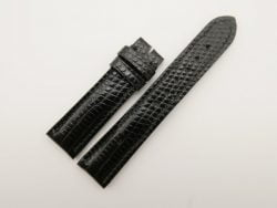 20mm/18mm Black Genuine Lizard Skin Leather Watch Strap #WT2804