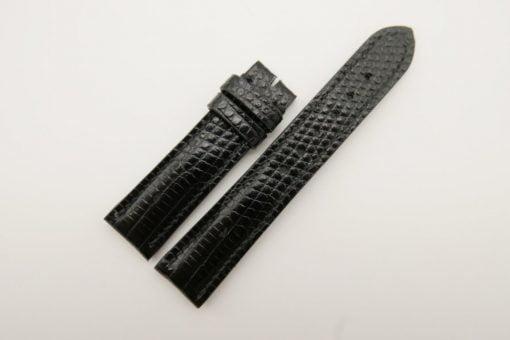 20mm/18mm Black Genuine Lizard Skin Leather Watch Strap #WT2804