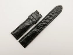 20mm/18mm Black Genuine Crocodile Skin Leather Watch Strap #WT2815
