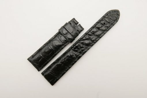 20mm/18mm Black Genuine Crocodile Skin Leather Watch Strap #WT2815