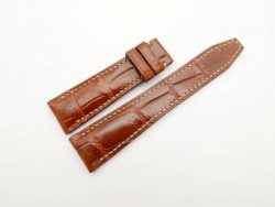 22mm/18mm Red Brown Genuine Crocodile Skin Leather Watch Strap for IWC #WT2861