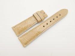 22mm/18mm Cream Genuine OSTRICH Skin Leather Watch Strap #WT2872